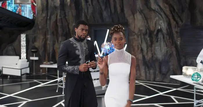 Chadwick Boseman and Letitia Wright in Black Panther.
