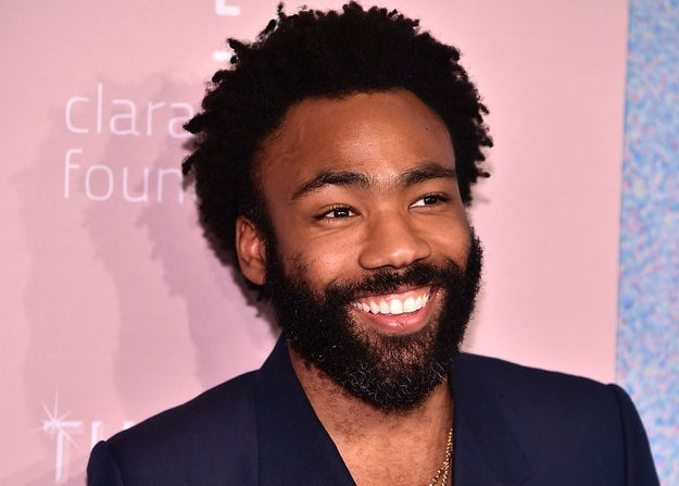 Smiling Donald Glover at an event