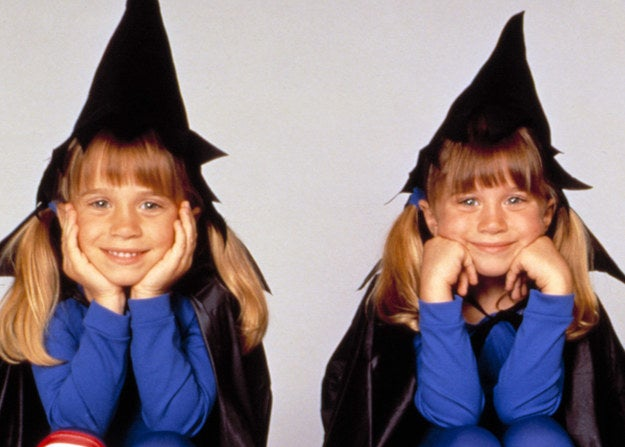 Mary-Kate and Ashley Olsen in Halloween costumes.