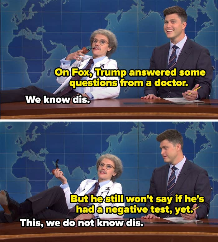 """Doctor saying """"we know this"""" to Trump answering question from a doctor on Fox and """"we don't know this"""" about if he's tested negative"""""""