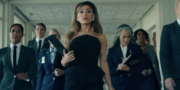 """Ariana Grande plays the president in the """"Positions"""" music video"""
