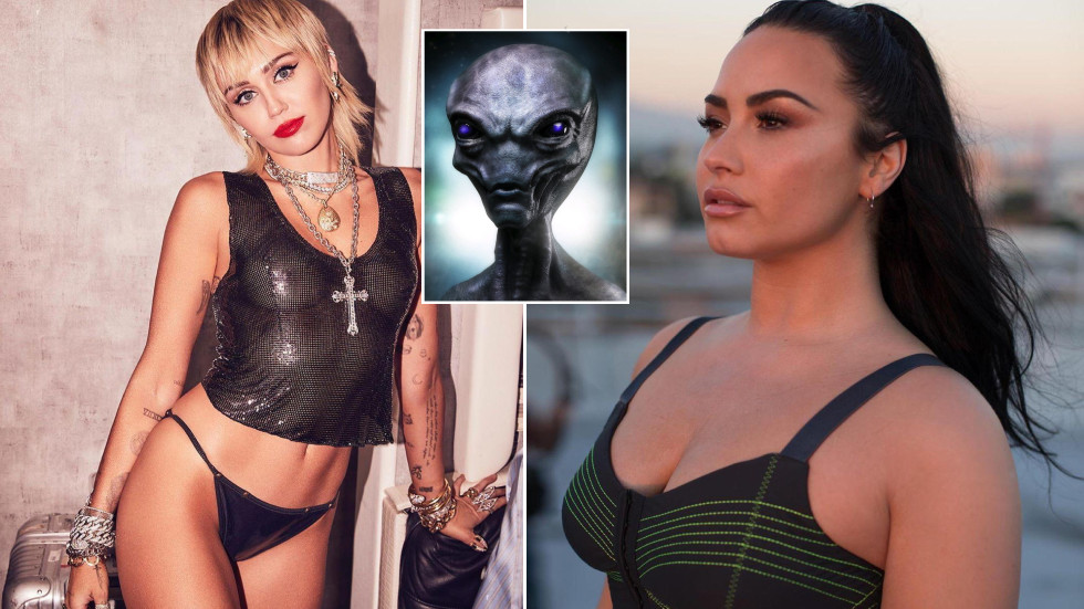 Close encounters of the blurred kind: Popstars Miley Cyrus and Demi Lovato report contact with ALIENS