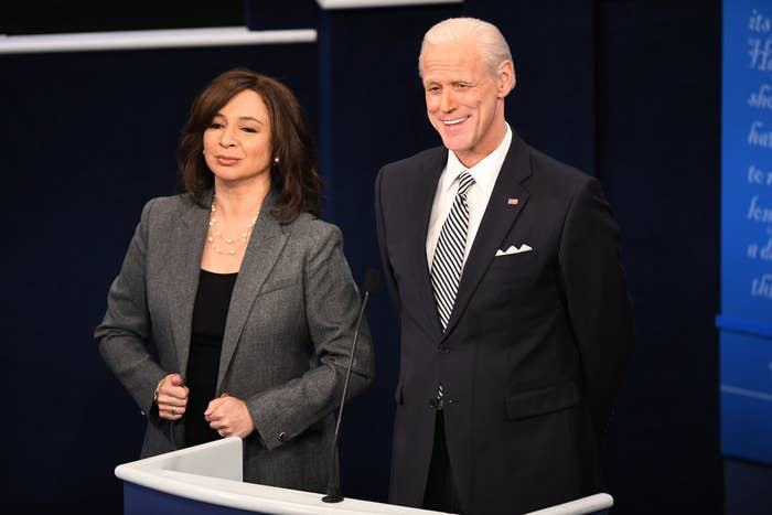 Maya Rudolph and Jim Carrey dressed as Kamala Harris and Joe Biden