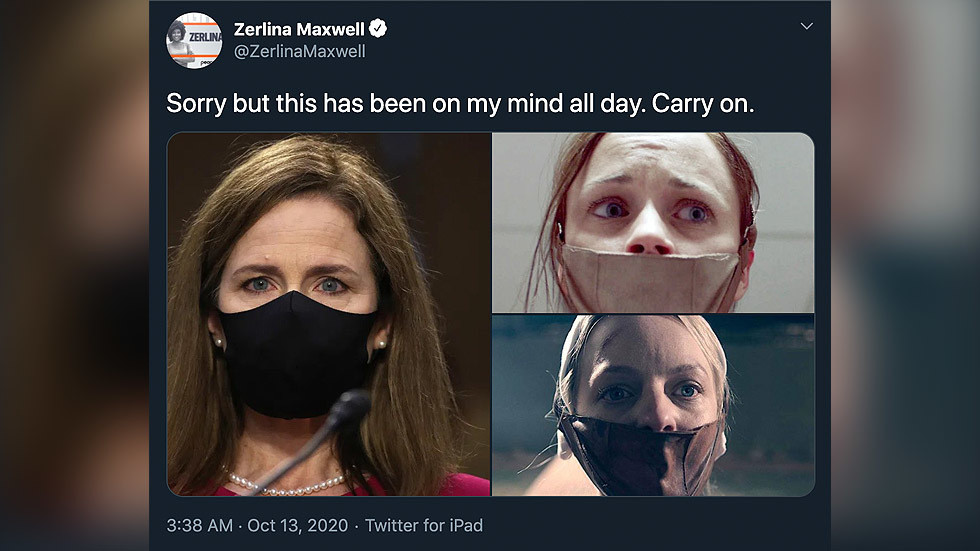 'Are we not supposed to wear masks now?' Internet dunks on former Clinton staffer fearmongering about Coney Barrett WEARING a mask