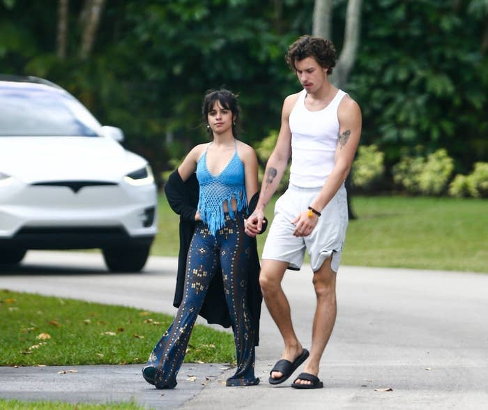 Camila and Shawn taking a morning walk