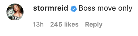 "Actor Storm Reid comments ""Boss moves only"" under Michael's Instagram post"