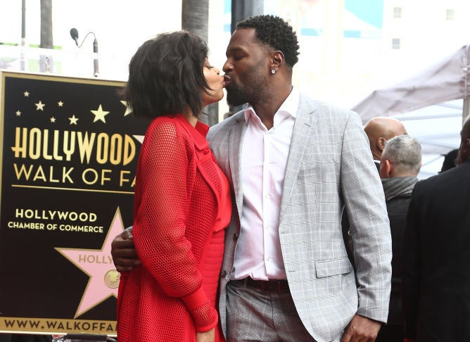 Taraji P. Henson and Kelvin Hayden attend a ceremony honoring Taraji P. Henson with a star on The Hollywood Walk of Fame