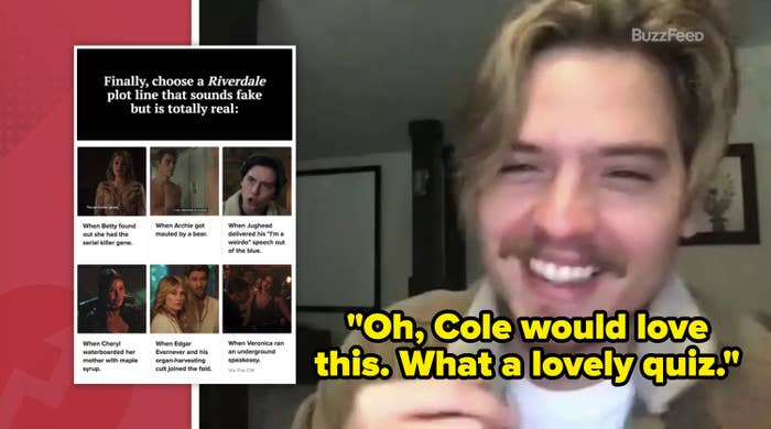 Dylan Sprouse taking a BuzzFeed quiz.
