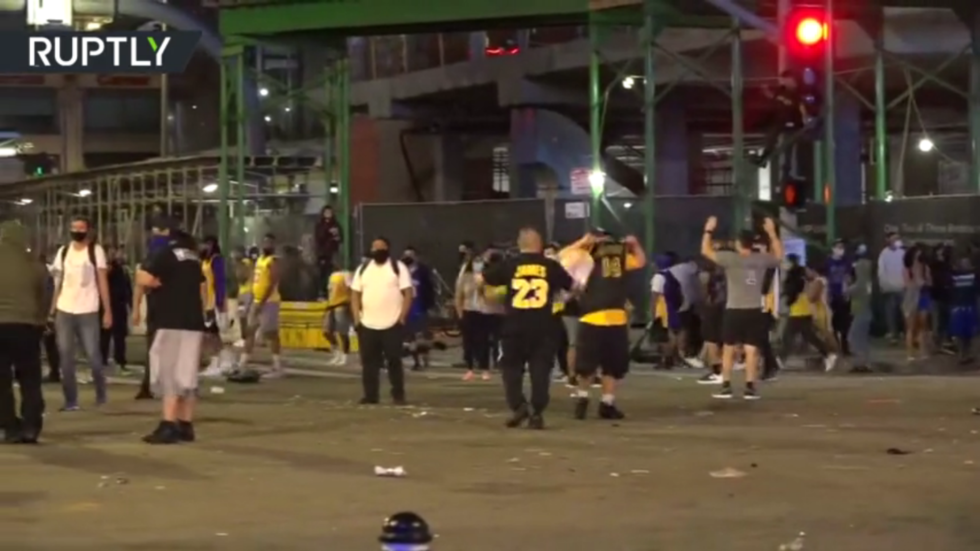 WATCH police fire tear gas as celebrations over LA Lakers NBA championship get out of hand
