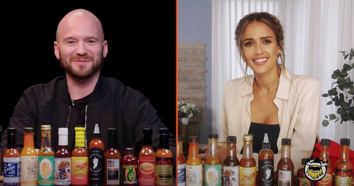 Sean Evans and Jessica Alba sit down with hot sauce and hot wings over a video call for the interview
