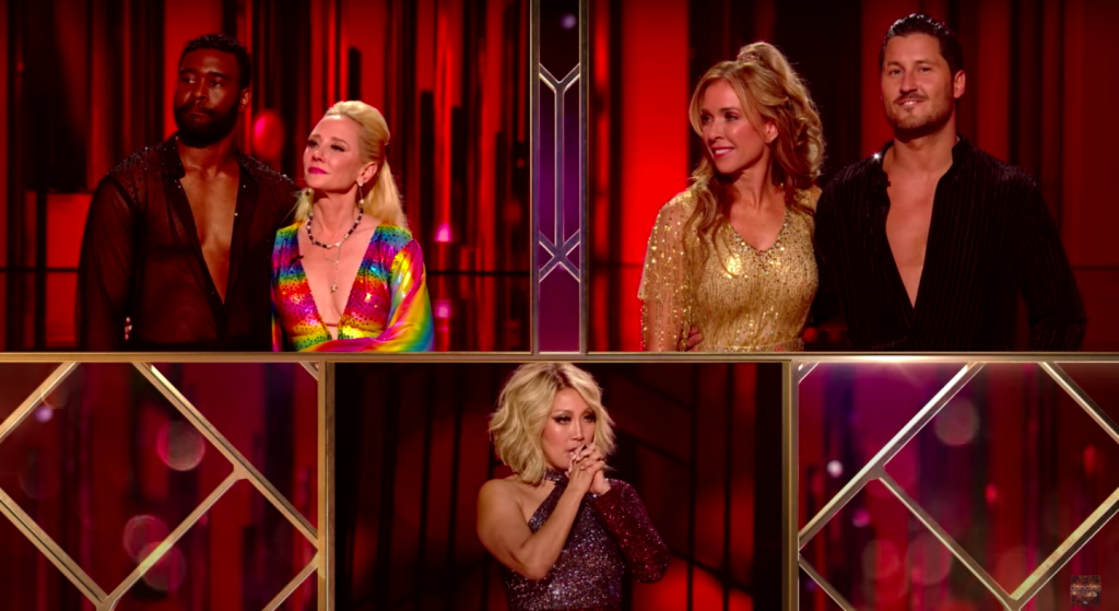 Monica Aldama and Anne Heche being judged by Carrie Ann Inaba