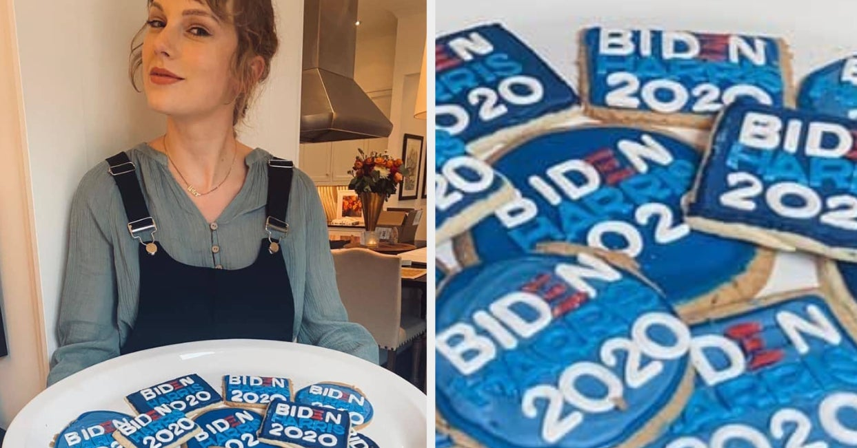 Taylor Swift Baked Biden/Harris 2020 Cookies Because She's Taylor Swift And Voting For Biden And Harris