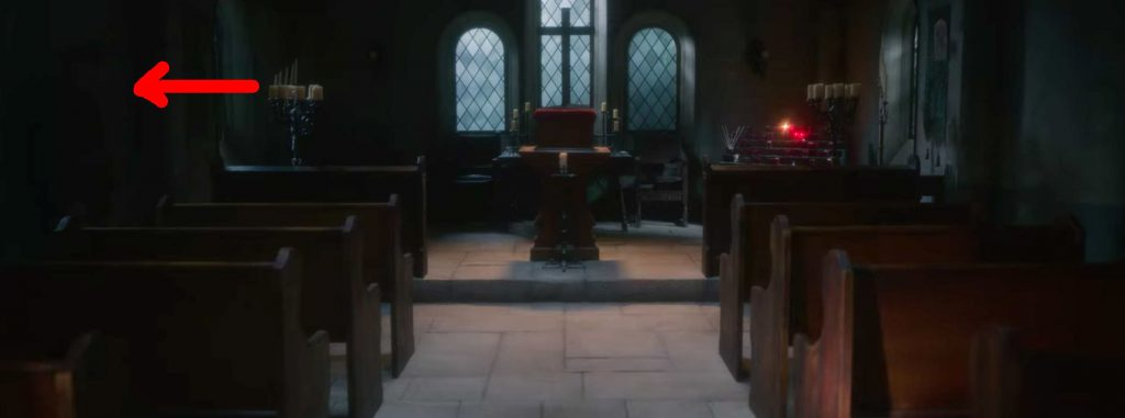 A red arrow points to the soldier ghost hidden in the shadows of the chapel