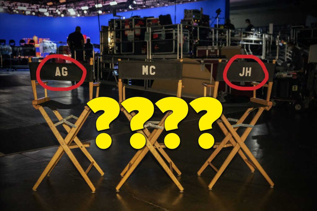 """The director chairs with """"AG"""" and """"JH"""" circled for emphasis and large question marks to add to the mystery"""