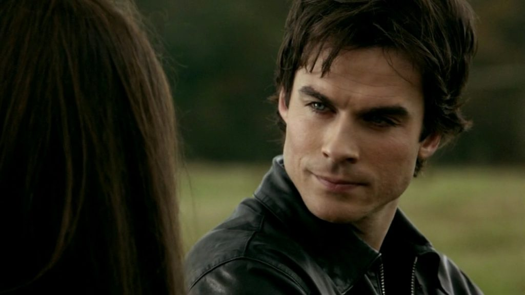 Damon smoldering at Elena.