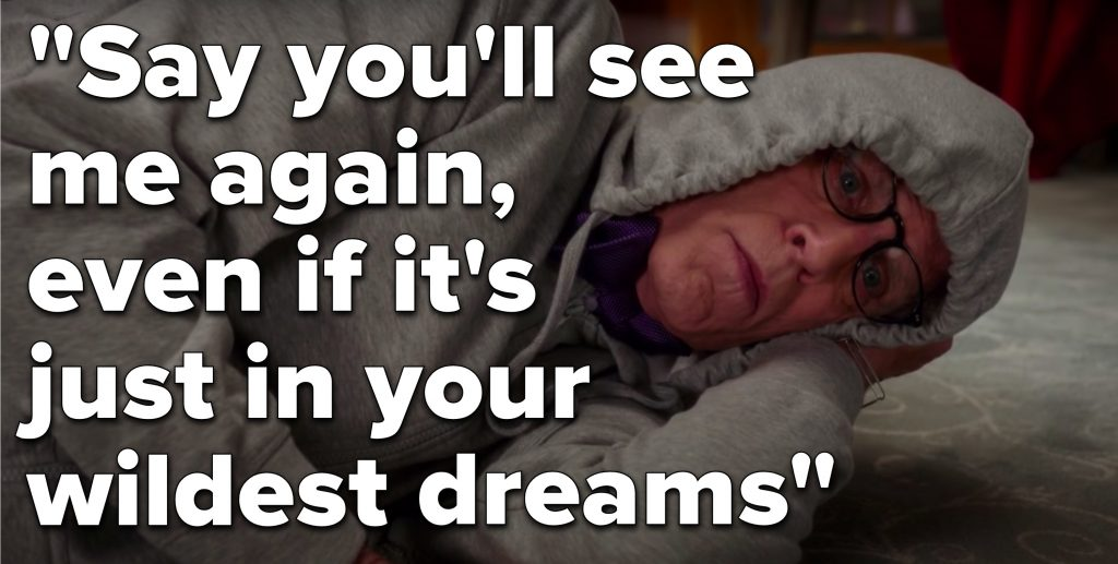 "Michael from The Good Place lays on the floor in a hoodie next to the lyrics, ""Say you'll see me again, even if it's just in your wildest dreams"""