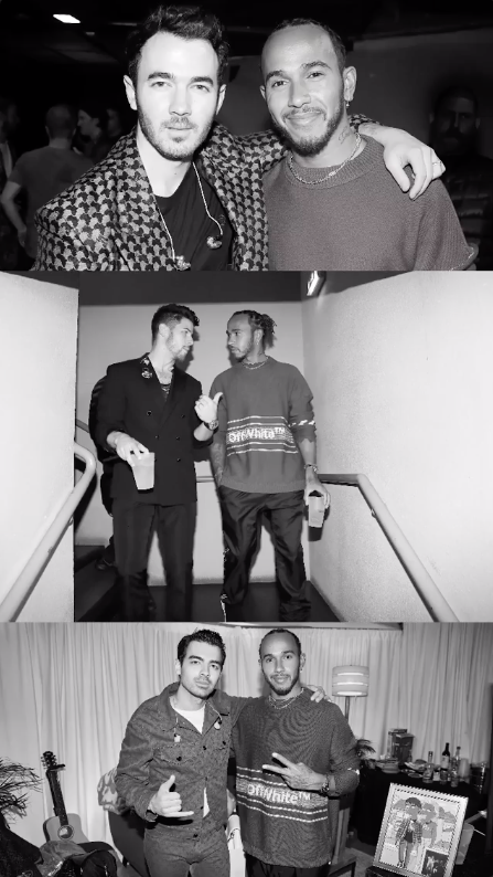 Photos of Lewis Hamilton with the Jonas Brothers