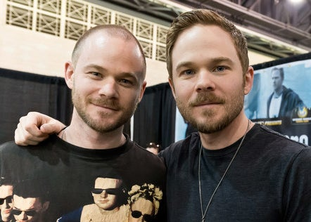 Aaron and Shawn Ashmore at a press event.