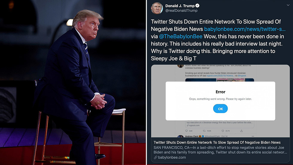 Trump tricked by Babylon Bee satire article claiming Twitter shut down 'entire network' to slow negative Biden news