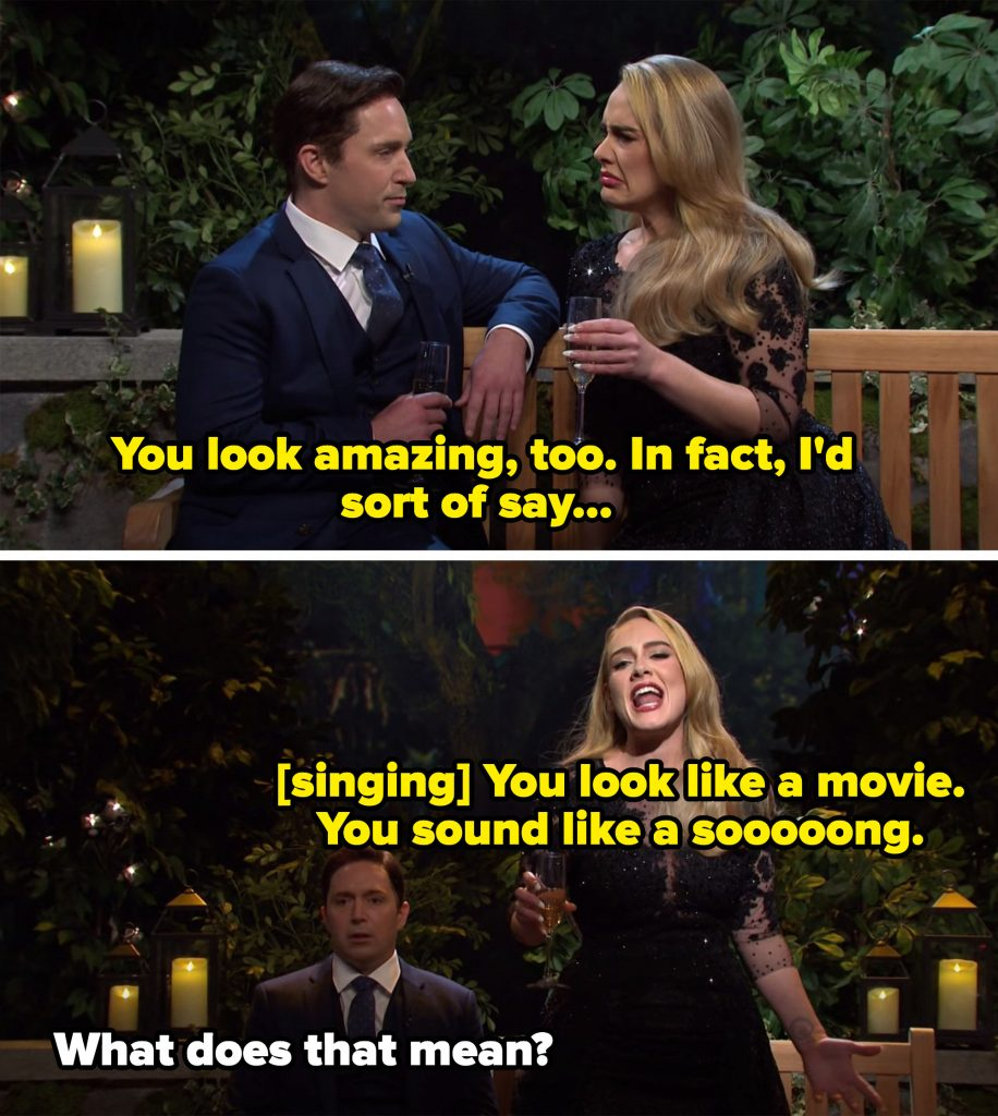 """Adele saying Ben looks amazing, then singing he """"looks like a movie, sounds like a song"""""""