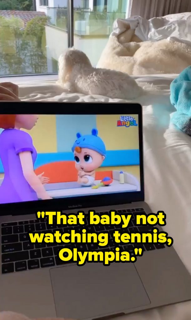 """A picture of Olympia watching Little Angel with the caption """"That baby not watching tennis, Olympia."""""""