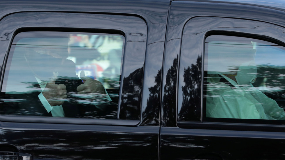 Trump briefly LEAVES hospital in slow drive past crowd of cheering supporters outside Walter Reed (VIDEOS)