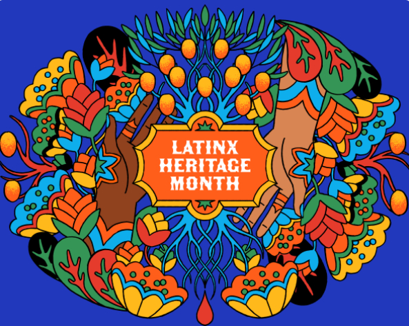 "A colorful collage of flowers with the phrase ""Latinx Heritage Month"" in the middle"