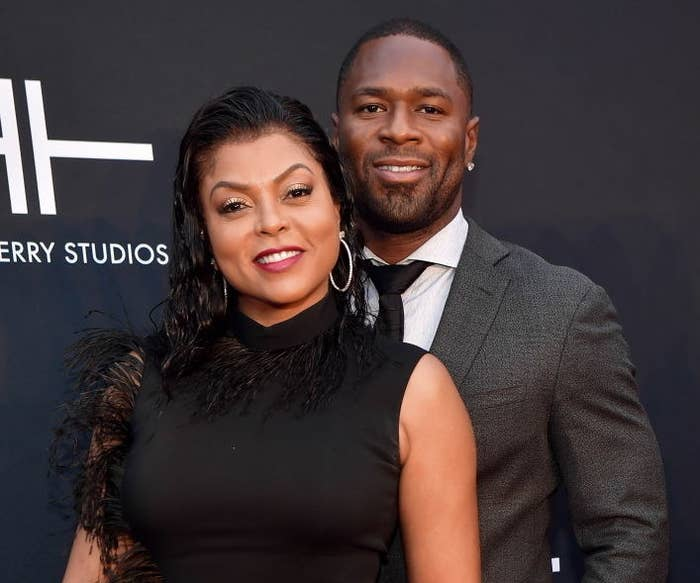 Taraji Henson and Kelvin Hayden attend Tyler Perry Studios Grand Opening Gala