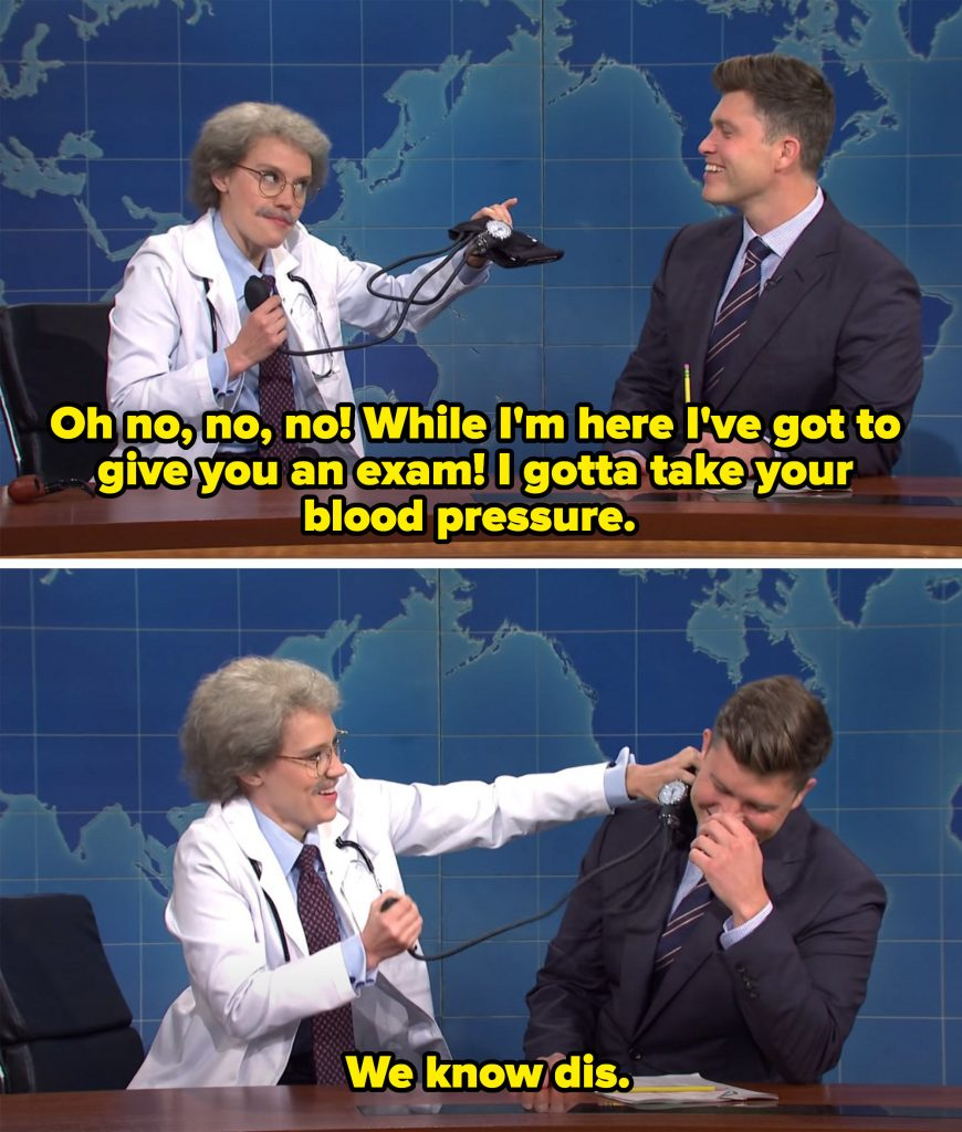 The doctor trying to give Jost a blood pressure test