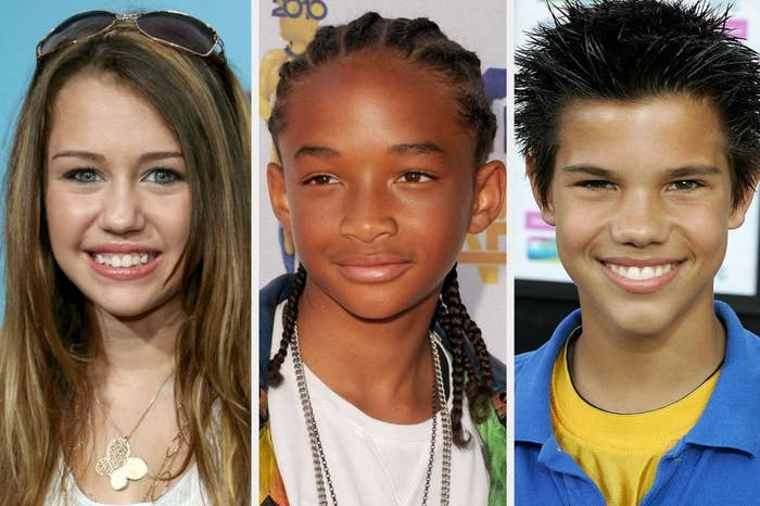 A very young Miley Cyrus, a young Jaden Smith, and a young Taylor Lautner