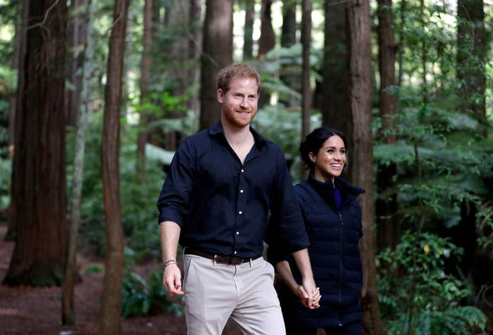 Harry and Meghan holding hands in the woods and smiling