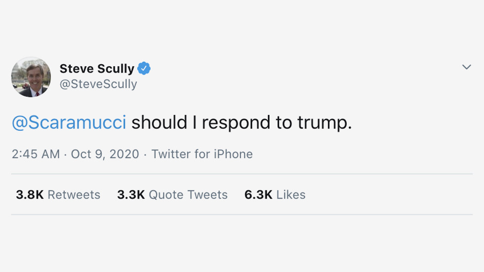 'Was that a direct message?' Debate moderator Steve Scully deletes cryptic tweet to Anthony Scaramucci about Trump