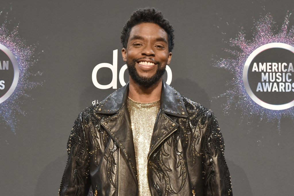Chadwick Boseman attends the 47th Annual American Music Awards® - Press Room at Microsoft Theater on November 24, 2019 in Los Angeles, California.