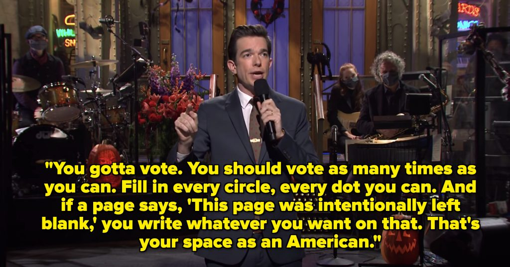 You gotta vote. You should vote as many times as you can, Vote and fill in every circle, every dot you can. And if a page says, 'This page was intentionally left blank,' you write whatever you want on that. That's your space as an American.