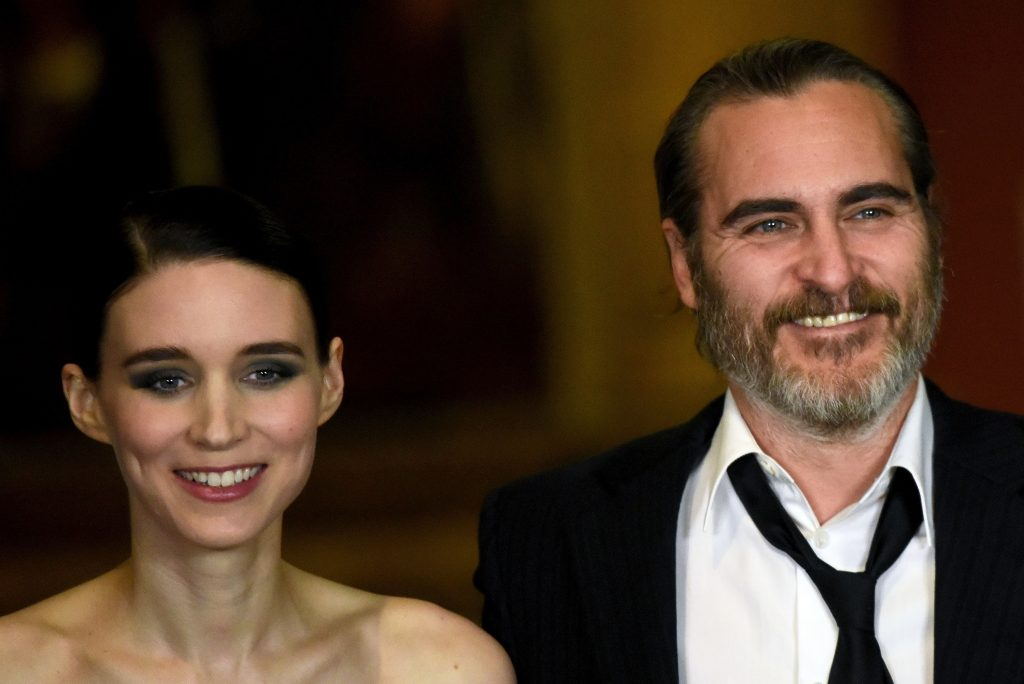 Rooney Mara (L) and Joaquin Phoenix attend the 'Mary Magdalene' special screening held at The National Gallery on February 26, 2018 in London, England.