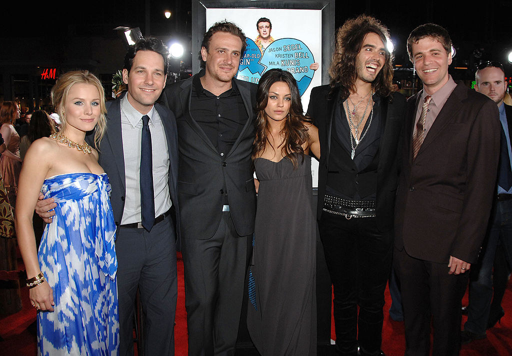 "Actress Kristen Bell, actor Paul Rudd, writer/actor Jason Segel, actress Mila Kunis, actor Russell Brand, and director Nicholas Stoller attend Universal Pictures' World Premiere of ""Forgetting Sarah Marshall"""