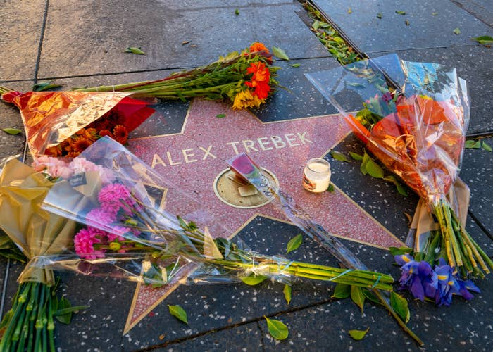 Hollywood honors Alex Trebek on the Walk of Fame after the announcement of his death on November 08, 2020 in Hollywood, California