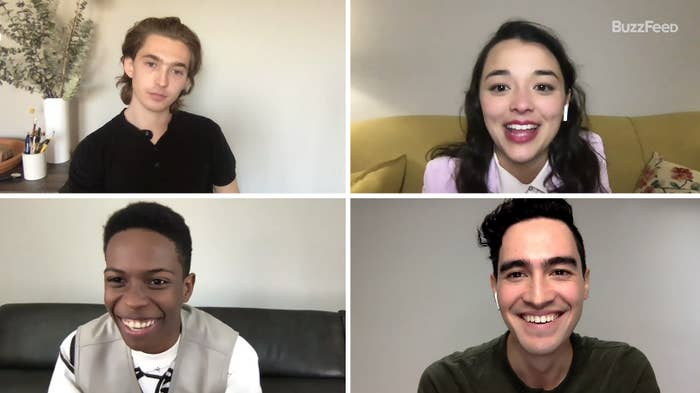 The cast of Dash & Lily taking a BuzzFeed quiz