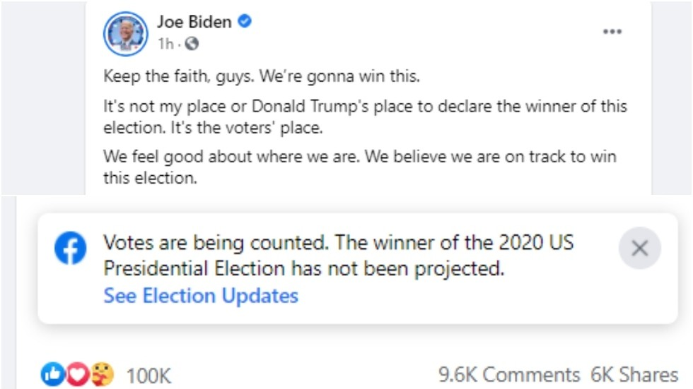Facebook flags Joe Biden's 'We're gonna win this' post & reminds that votes have not been counted yet