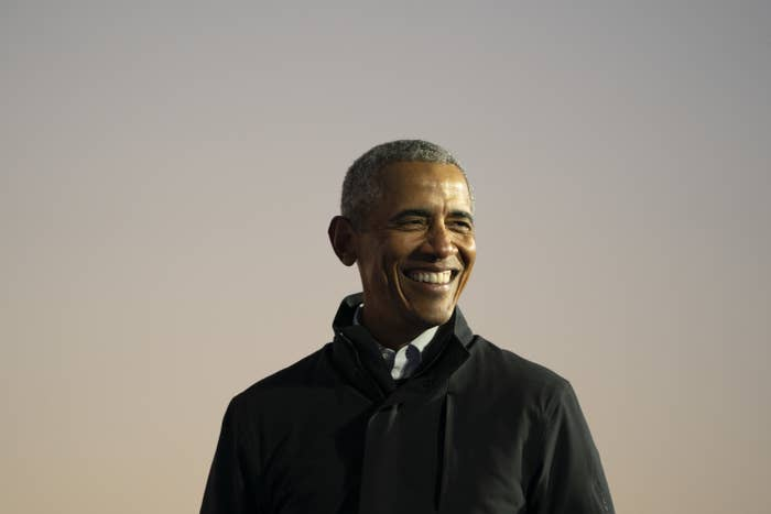 Former President Barack Obama speaks during a drive-in campaign rally with Democratic presidential nominee Joe Biden at Belle Isle on October 31, 2020 in Detroit, Michigan.