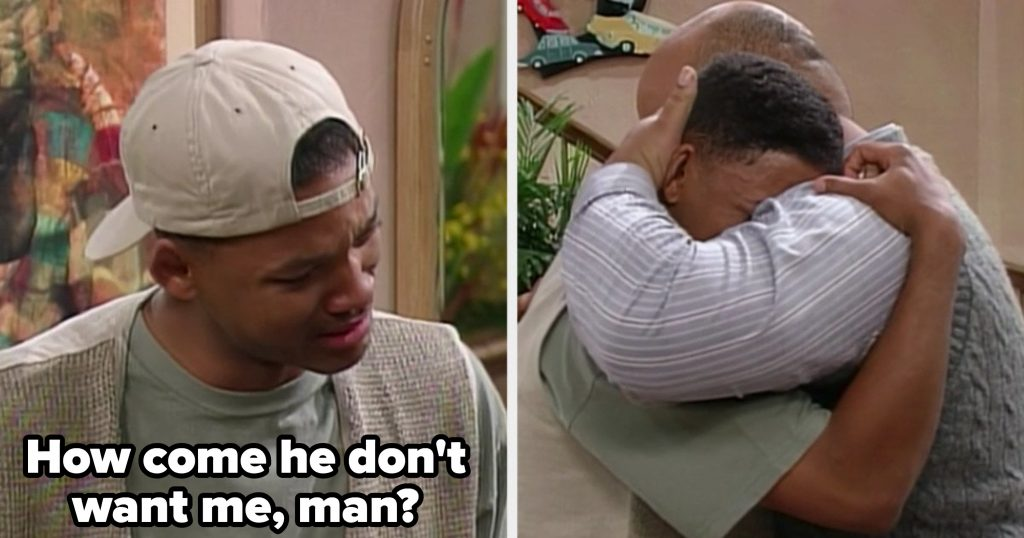 Will asking Uncle Phil why his father doesn't want him, and then they both embrace while crying