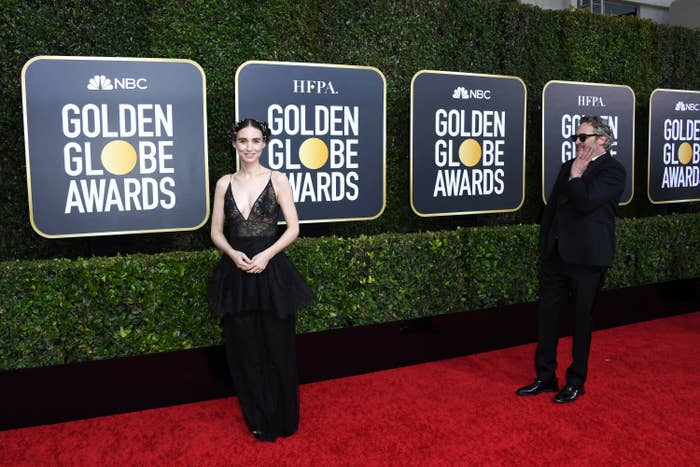 Rooney Mara (L) and Joaquin Phoenix attend the 77th Annual Golden Globe Awards at The Beverly Hilton Hotel on January 05, 2020 in Beverly Hills, California.