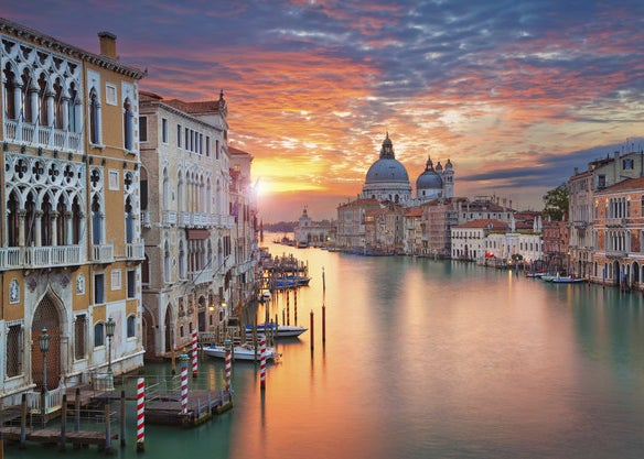 A Venice canal at sunset
