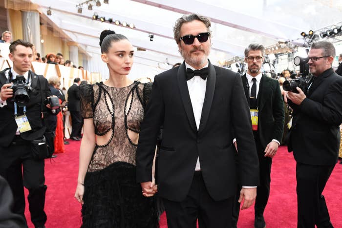 US actor Joaquin Phoenix (R) and US actress Rooney Mara arrive for the 92nd Oscars at the Dolby Theatre in Hollywood, California on February 9, 2020.