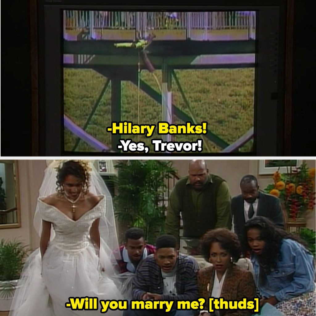 The Banks family watching Trevor proposing to Hilary on TV, and completely stunned when they realized he died