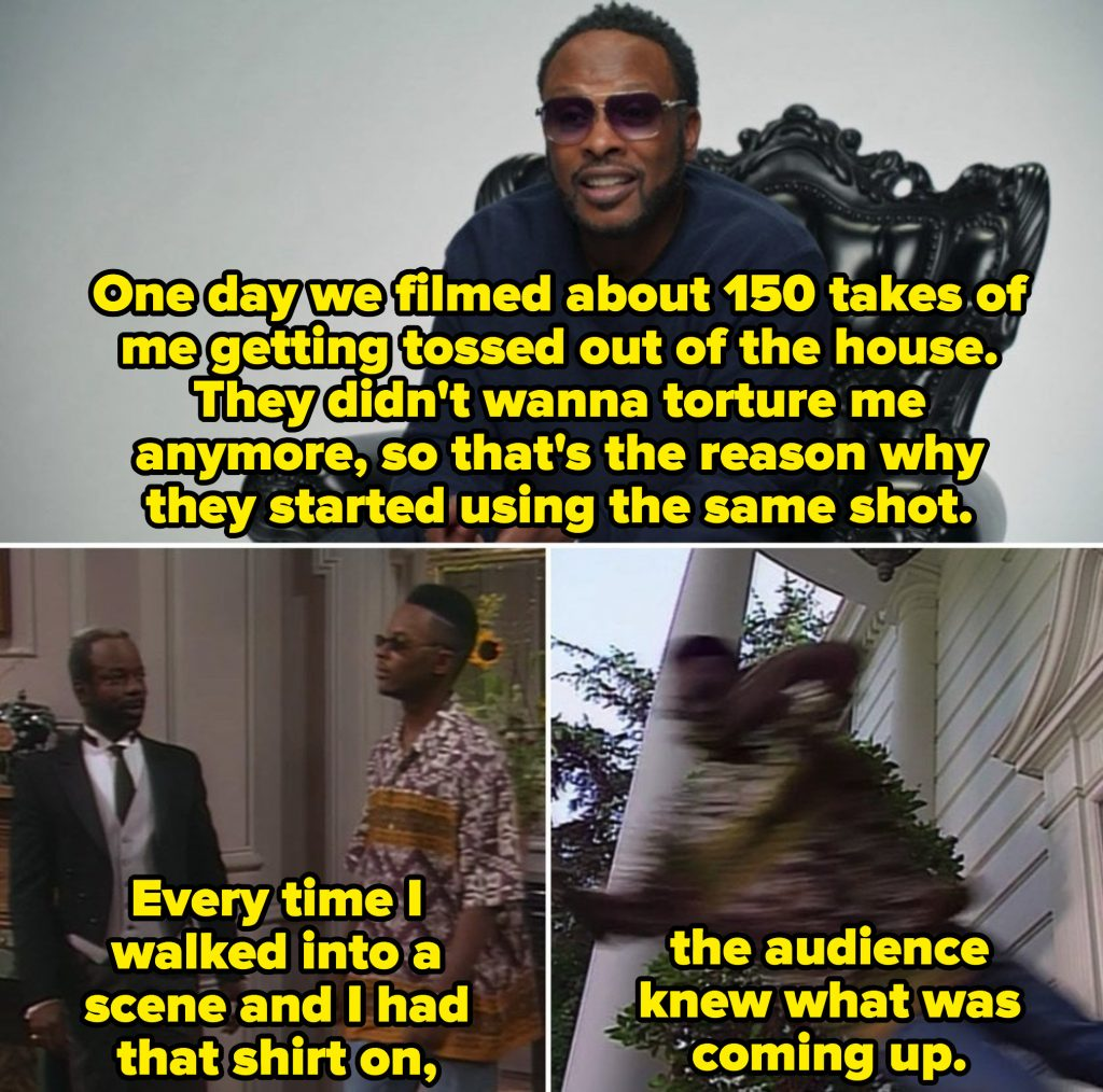 DJ Jazzy Jeff describing being thrown out of The Banks' house in 150 takes, and a clip of Jazz being thrown out in one of his classic shirts