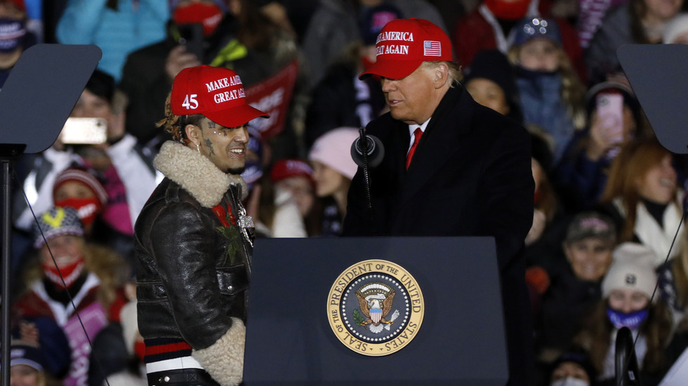 'Little Pimp'? Trump mistakes name of rapper Lil Pump at final campaign rally as critics call for musician's career to 'tank'