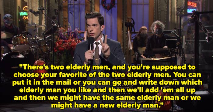 There's two elderly men, and you're supposed to choose your favorite of the two elderly men. You can put it in the mail or you can go and write down which elderly man you like.