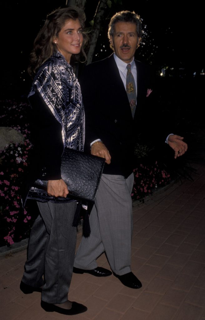 Alex Trebek and wife Jean Currivan attend Hollywood Stars Night Thoroughbred Horse Race on June 22, 1990 at Hollywood Park in Hollywood, California.