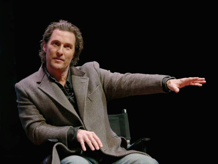 """Matthew McConaughey participates in a Q&A after a special screening of his new film """"The Gentlemen"""" at Hogg Memorial Auditorium at The University of Texas at Austin on January 21, 2020 in Austin, Texas."""